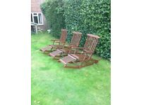 3 teak rare rocking steamer outside chairs