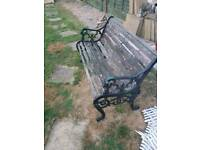 3 seater garden bench cast iron and wood