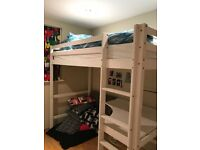 Ikea High bed with built in desk and mattress