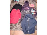 Girls bundle of clothes: North face sweat shirt, Next top, Lee top, 2 zip up sweats, slippers, 3