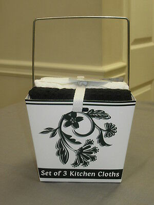 KAY DEE DESIGNS KITCHEN DISH TOWELS WAFFLE WEAVE SET OF 3 BLACK CAMEO GIFT BOX