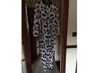 F&F Cow Print Fleecy Onesie Size 12/14