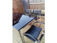 Table and chairs, glass extendable table and 4 chairs,