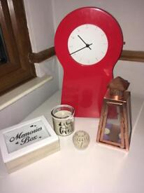 Ikea cabinet clock and home decorations £5