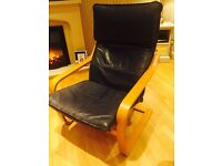 IKEA Poang Navy Leather Rocking Chair with head rest NEW condition