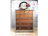 Vintage Industrial Rustic Solid Wood Large Chest of Drawers