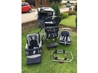 Emmaljunga pram, change bag, car seat, buggy board, pushchair
