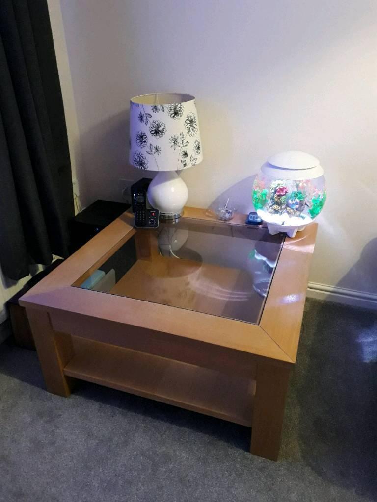 Oak Glass Top Coffee Table - £70 ono