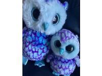 Ty beanie boo cute mummy and baby sized Oscar owls