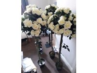 4 artificial rose white tree