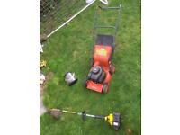 Spares or repair. Petrol lawn mower and strimmer.