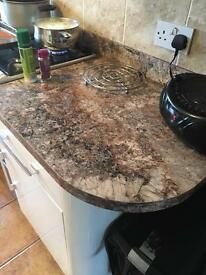 Marble effect kitchen worktop