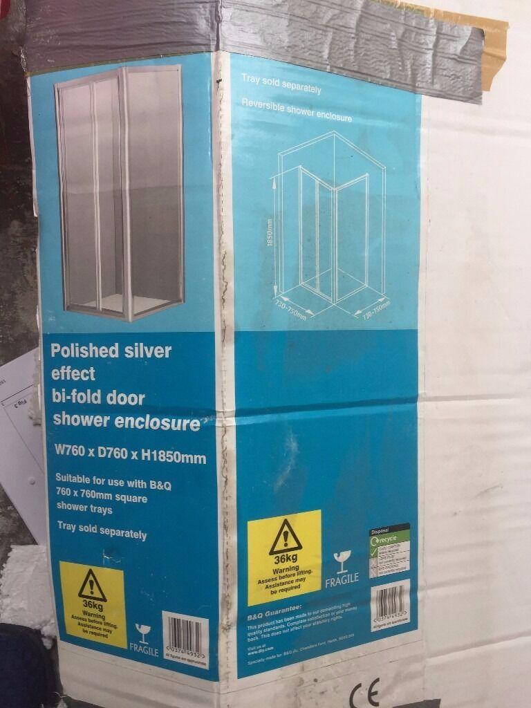 polished silver effect bi fold shower door enclosure 760mm x 1850 ...