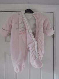 pink thick turnover mitt snow suit 3-6m collect or deliver Stonehaven only, no postage