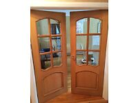 """Mahogony """"Riviera"""" glazed pair of rebated internal doors in excellent condition"""