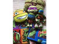 Teenage Mutant Ninja Turtles kids bedroom bundle, bedding, toys - immaculate