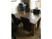 Rustic Solid Oak Farmhouse Style Extendable Dining Table Four Chocolate Leather Chairs