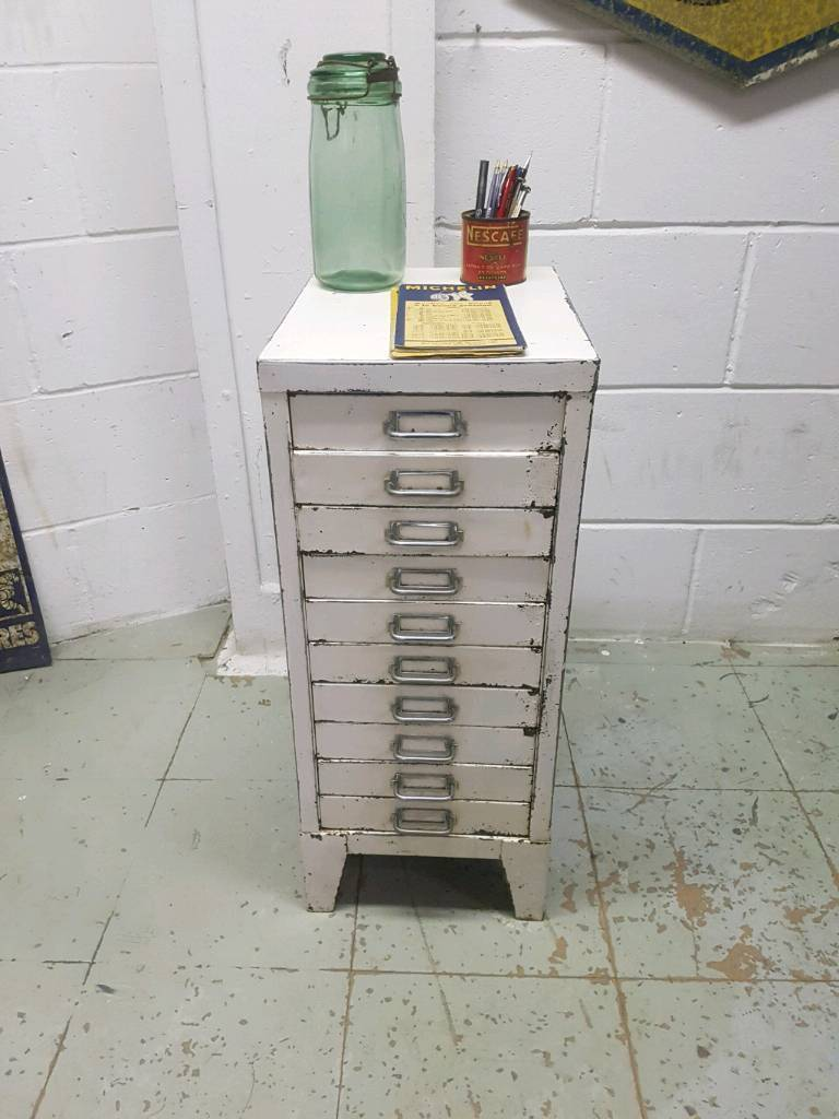 SMALL VINTAGE FILING CABINET WHITE