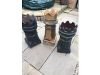 Antique crown chimney pots set of 3