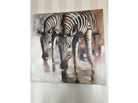 Large zebra art canvas