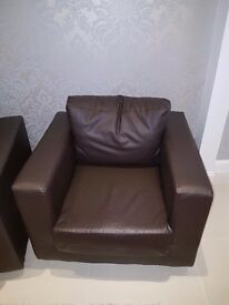 Faux leather sofa and 2 matching armchairs - Bargain!