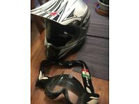 White Motorcross Helmet with Goggles.
