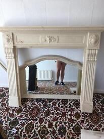 Fire surround, mirror hearth and backpiece