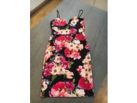 Misguided Flowered dress with adjustable shoe string straps - worn once