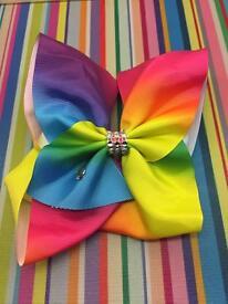 Large rainbow hair bow Jojo style