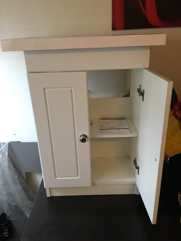 Floor standing white bathroom storage cupboard brand new