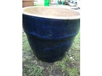 Blue and black wash effect flower pot, small to medium sized
