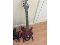 Rare custom Ibanez S2020X Cherry Red guitar with Piezo Floyd Rose bridge and scalloped neck