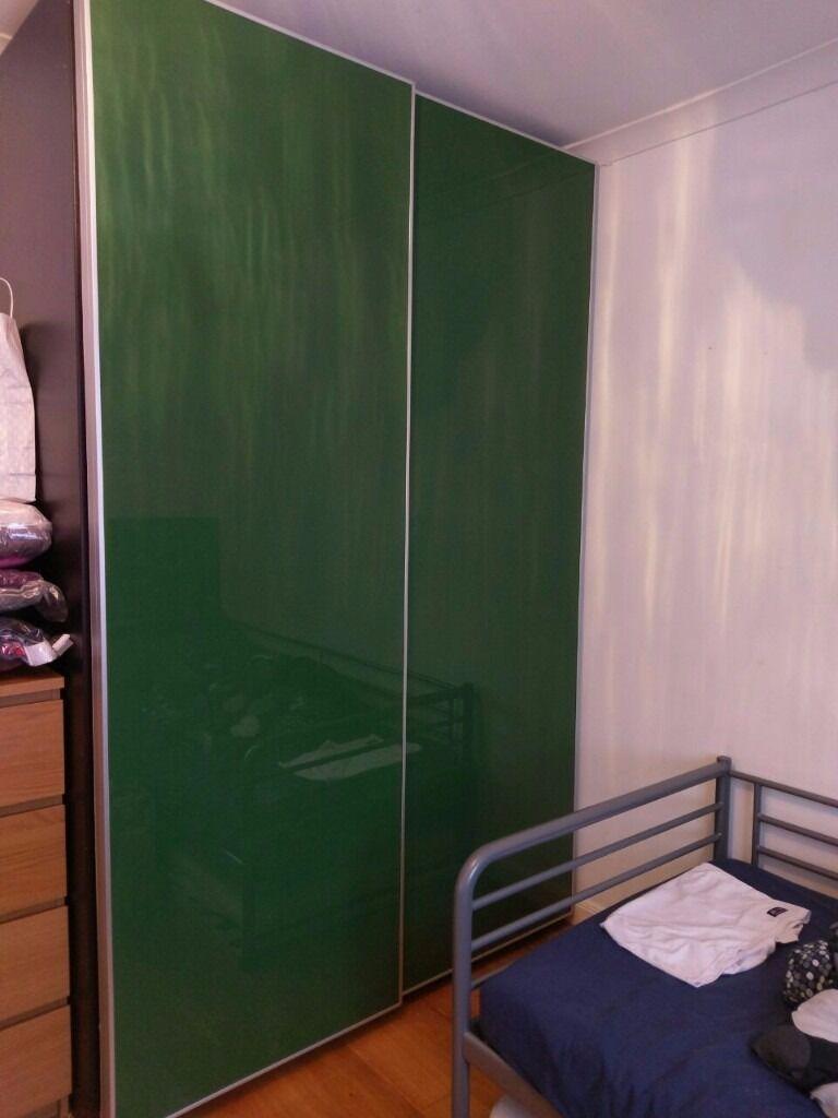 Ikea Pax Green Sliding Doors Wardrobe 150 X 66 236cm