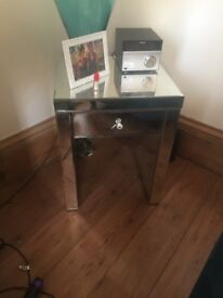 Mirrored bedside / lamp table
