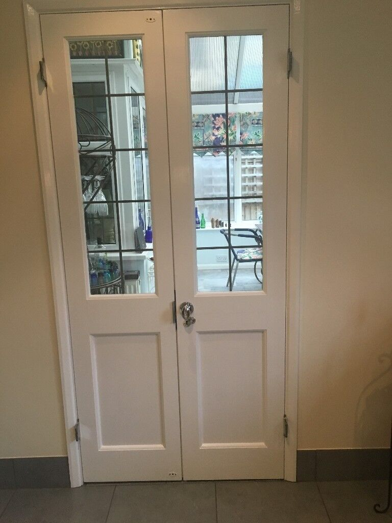 2 Internal French Doors Leaded Glass Panels In Woodford Green
