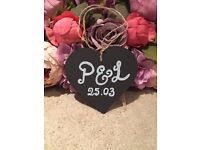 Personalised Chalkboard Chalk Board Wooden Hanging Heart Wedding Decor Sign Pew Chair Table End