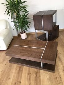 Coffee table and 2 Lamp tables. Contemporary style Coffee table and 2 Side Tables in dark elm (used)