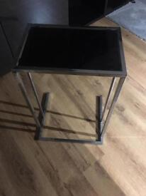 Black glass and Chrome small side table