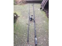 Shakespeare omni X 12ft carp rod with Shakespeare pro aim rear drag reel
