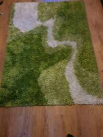 Lime green and white rug