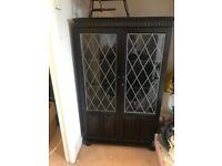Priory dark wood glass cabinet