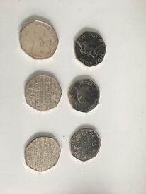 4 Beatrix Potter 50p and 2 Benjamin Britten 50p