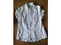 Bravissimo/Pepperberry white-short sleeve Super Curvy shirt NWT S16