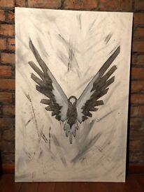 Large Unique & Hand-Painted Logan Paul Maverick Fan Art in Black and Grey