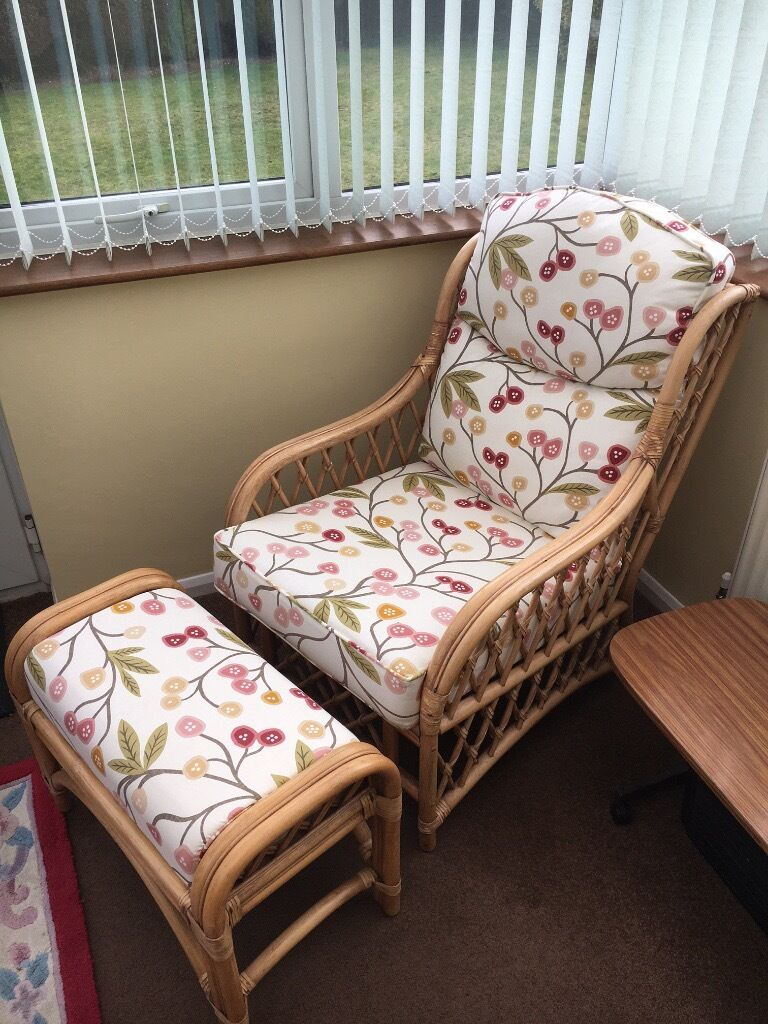 Cane Chair and matching Foot Restin Woodbridge, SuffolkGumtree - Cane Conservatory Chair and Matching Foot Stool. In immaculate condition from a pet and smoke free home. Only been sat on a few times and not a mark on it