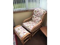 Cane Chair and matching Foot Rest
