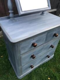Refurbished Antique Dressing Table/Chest Of Drawers