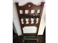 Beautiful Arts and Crafts Snooker or Pool Rack with quality turning mechanism. Great condition.