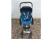 Pre-owned Quinny modular 4 wheel pushchair buggy stroller pram in blue
