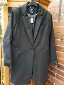 BNWT black long coat size ladies 18